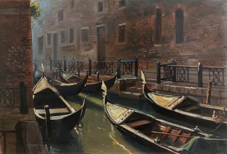 Quadro di Joseph Sheppard Gondole a Venezia - olio tavola