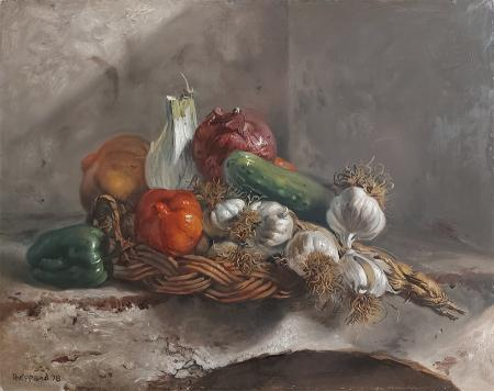 Quadro di Joseph Sheppard Cesto con aglio e verdure - olio tavola