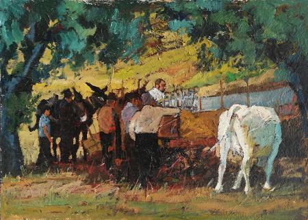 Quadro di Vincenzo Morra campagna con contadini - olio truciolare
