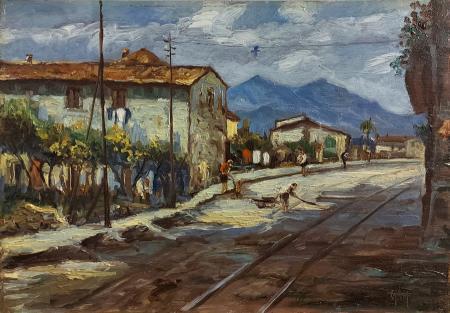 Quadro di Alessandro Monsagrati Periferia - Strada ferrata - olio tavola