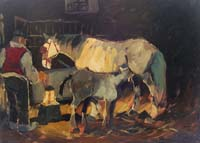 Quadro di Basso Ragni - La stalla olio tavola