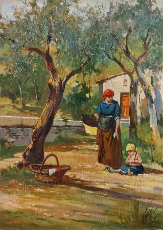Quadro di Aldo Affortunati Contadina con bambina  - olio tavola