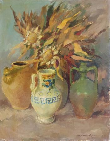 Quadro di Carlo  Capanni Vasi e girasoli - olio tela