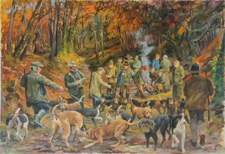 Quadro di Luigi Lotti Raduno di cacciatori - olio tela
