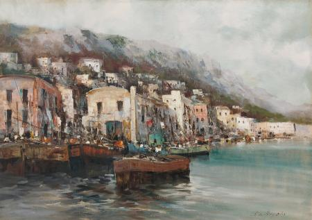 Quadro di E. B. De Angelis Marina - olio tela