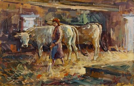 Quadro di Loris Centelli Nella stalla - olio cartone telato