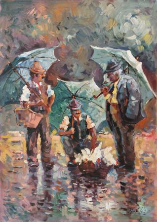 Quadro di Loris Centelli Cecco, Tonio e Gosto al mercato  - olio tavola