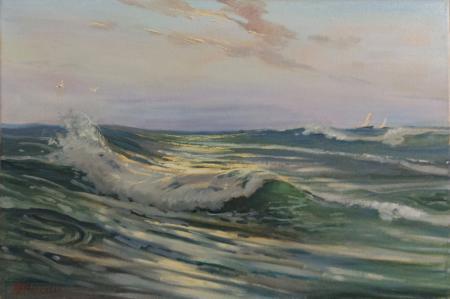 Quadro di Gracco Ponticelli Colpo di mare - Viareggio - olio tela