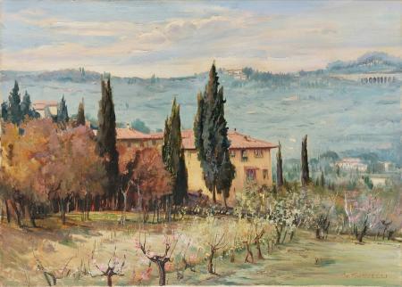 Quadro di Gracco Ponticelli Primavera San Domenico - Versante della faentina - olio tela