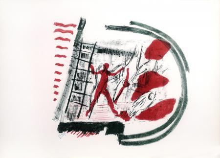 Quadro di Emanuele Cappello Figura con scala - litografia carta