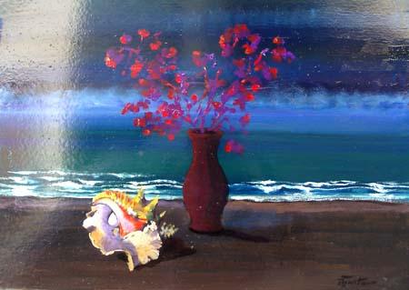 Quadro di Luigi Pignataro Fiori sul mare - olio tavola
