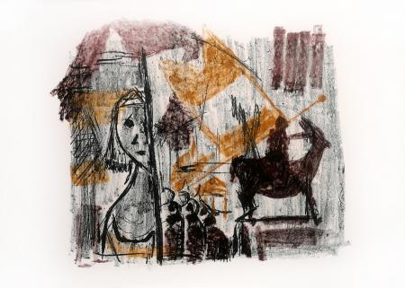 Quadro di Emanuele Cappello Composizione con bambina - litografia carta