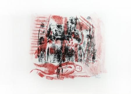 Quadro di Emanuele Cappello Composizione con figura sdraiata - litografia carta