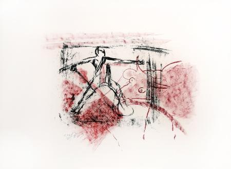 Quadro di Emanuele Cappello Figura con bue - litografia carta