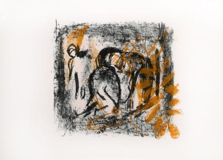 Quadro di Emanuele Cappello Composizione con figure - litografia carta