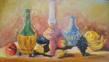 Quadro di G. Spinelli Vino e limoni - olio faesite