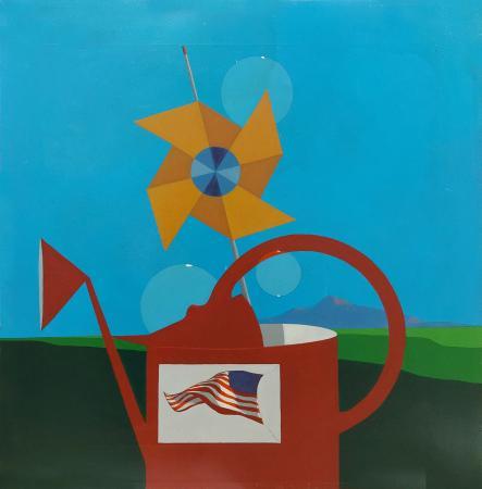 Quadro di Piero Panza Composizione con bandiera americana - olio tela