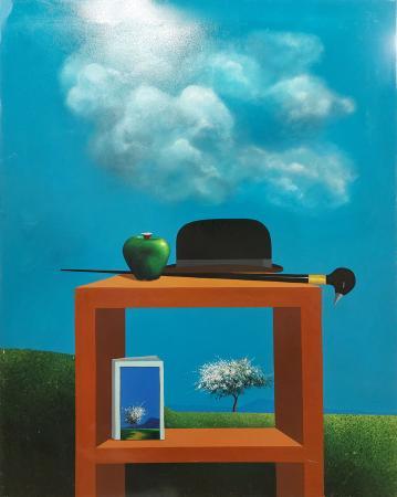 Art work by Piero Panza Composizione con cappello e mela - oil canvas