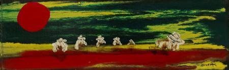 Art work by Enzo Kocevar Bagnanti al sole - enamel hardboard