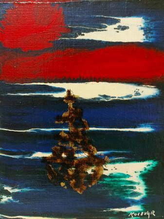 Art work by Enzo Kocevar Composizione con barca - enamel table