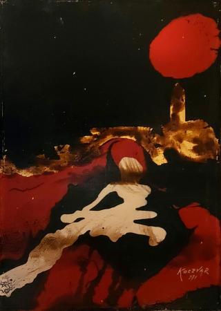 Art work by Enzo Kocevar Paesaggio notturno - enamel plywood