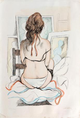 Quadro di Fausto Maria Liberatore Nudo di schiena - litografia carta