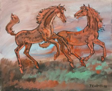 Quadro di Teo Russo Cavalli in corsa - olio tela