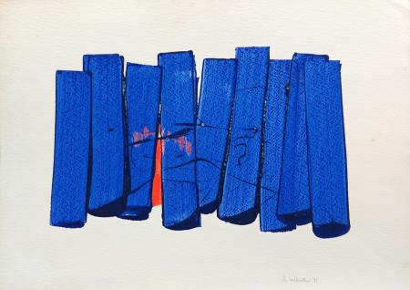 Quadro di Andrea Gabbriellini Barriera blu - acrilico carta ad alta grammatura