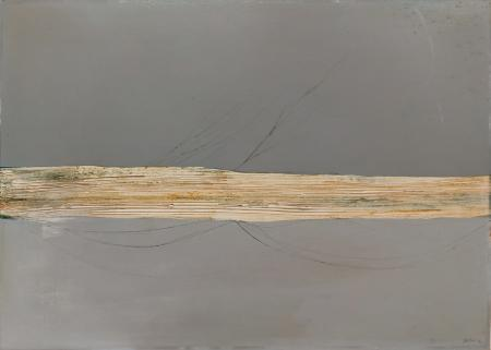 Art work by Fabio De Poli Striscia 90  - oil hardboard