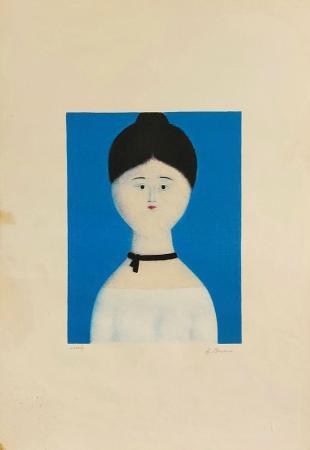 Quadro di Antonio Bueno Ragazza sul blu - litografia carta