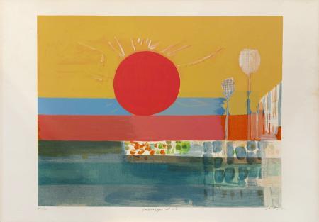 Quadro di Bruno Saetti Paesaggio con sole - litografia carta