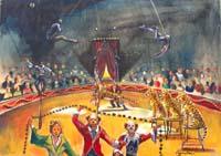 Quadro di Luigi Pignataro - Il circo olio tavola