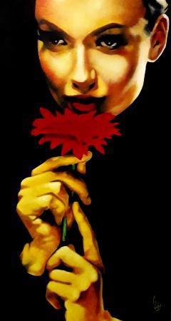 Quadro di Paolo Lenti Il fiore delle mille e una notte - olio legno