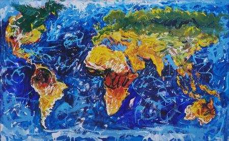 Quadro di Giancarlo Bellisini Mappamondo - olio tela