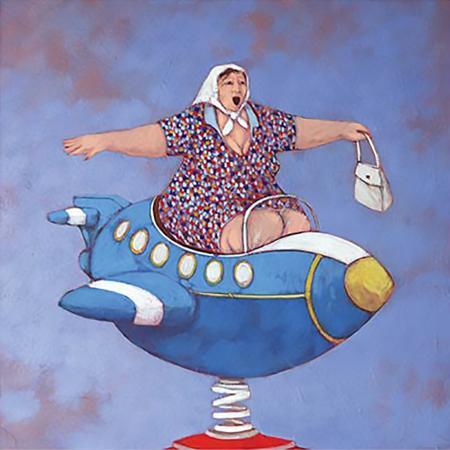 Quadro di Lisandro Rota Scuola di volo, prima lezione - Pittori contemporanei galleria Firenze Art