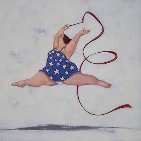 Quadro di Lisandro Rota La maestra di ginnastica ritmica - Pittori contemporanei galleria Firenze Art