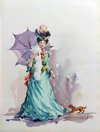Quadro di Giovanni Ospitali Dama con cane - acquerello carta