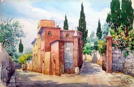 Quadro di Giovanni Ospitali Via di Careggi Firenze - acquerello cartone