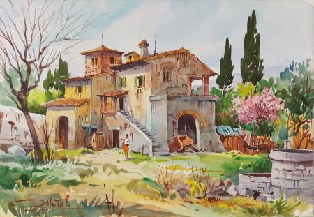 Quadro di Giovanni Ospitali Campagna Toscana - acquerello faesite