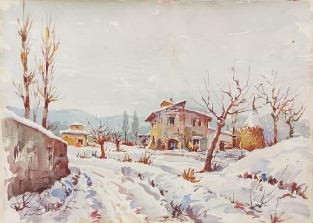 Quadro di Giovanni Ospitali Neve in città - acquerello cartone