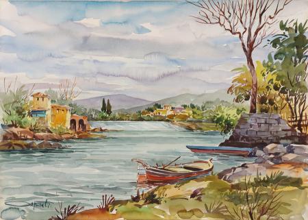 Quadro di Giovanni Ospitali Arno a Rovezzano - acquerello cartone