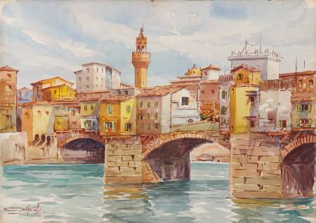 Quadro di Giovanni Ospitali Ponte Vecchio, Firenze - acquerello cartone