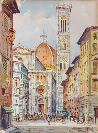 Art work by Giovanni Ospitali Piazza Duomo - watercolor cardboard