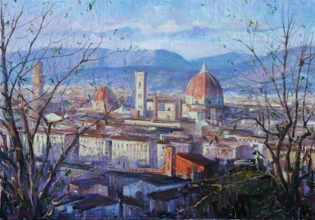 Quadro di Mario Minarini Firenze dal Piazzale Michelangelo - olio tela