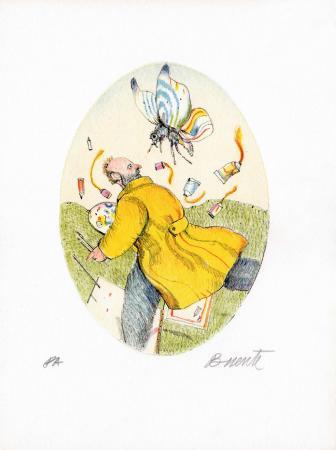 Quadro di Antonio Possenti Il pittore - litografia carta