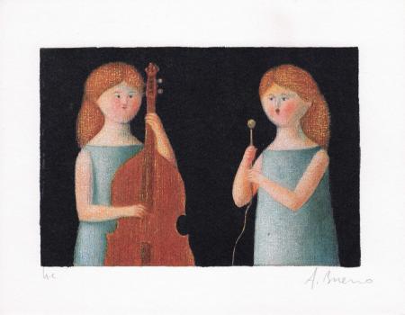 Quadro di Antonio Bueno Il concertino - litografia carta