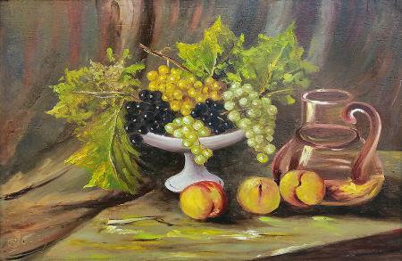 Quadro di  Pozzi Natura morta con uva e pesche  - olio tavola