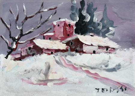 Quadro di Teo Russo Case sotto la neve - olio faesite