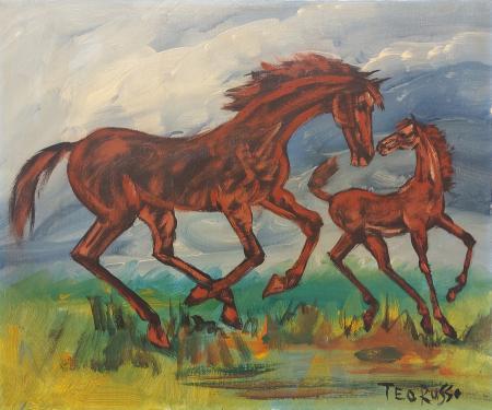 Quadro di Teo Russo Cavalli al galoppo - olio tela