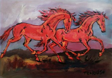 Quadro di Teo Russo Cavalli al galoppo - olio faesite